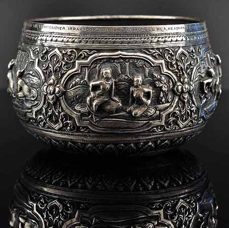 Burmese silver bowl, Thabeik